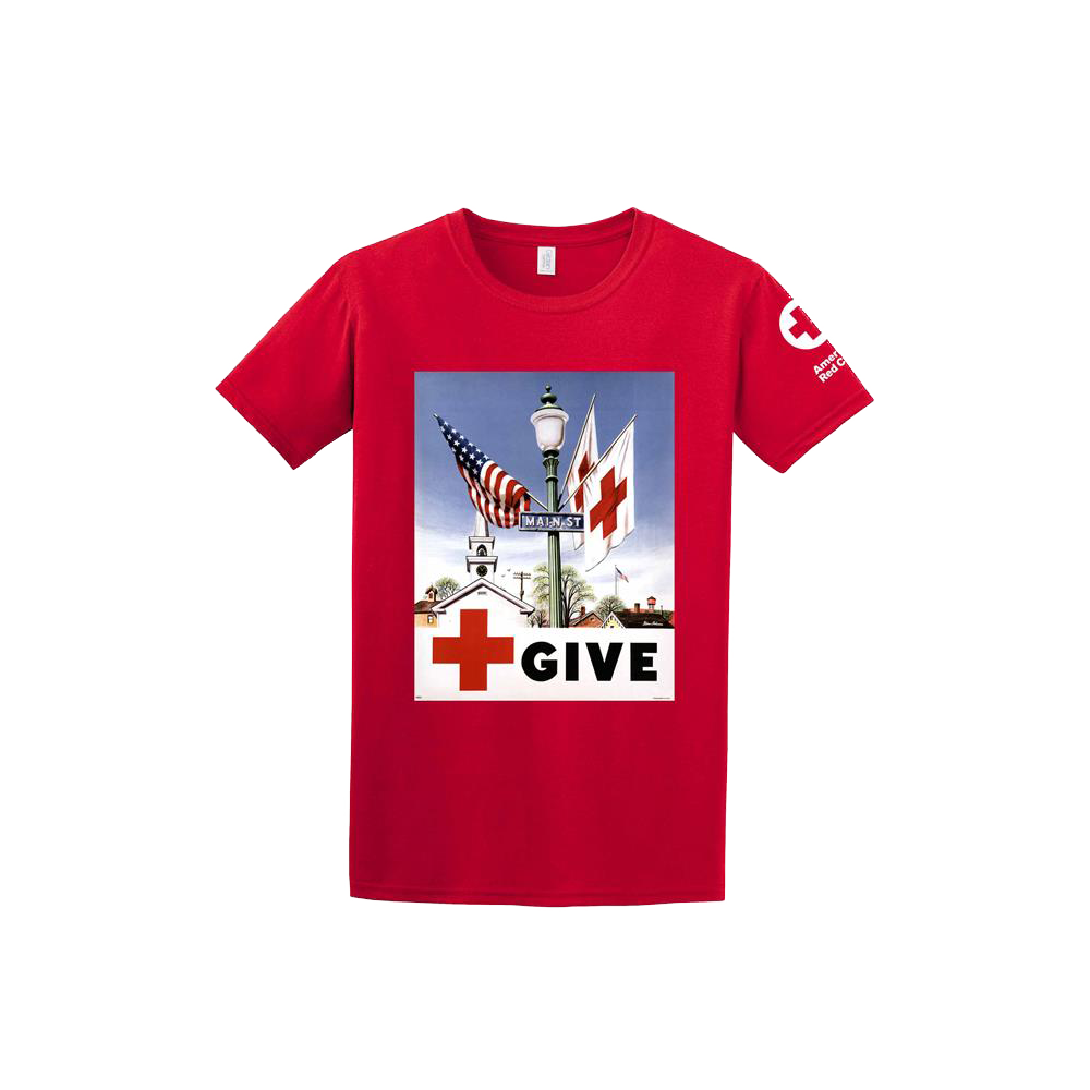 T shirt with give vintage print red cross store for Print one t shirt