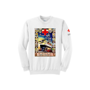Unisex Crew Neck with American Junior Red Cross Boat Vintage Print