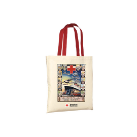 Natural tote/red handles with JR. BOAT Vintage poster