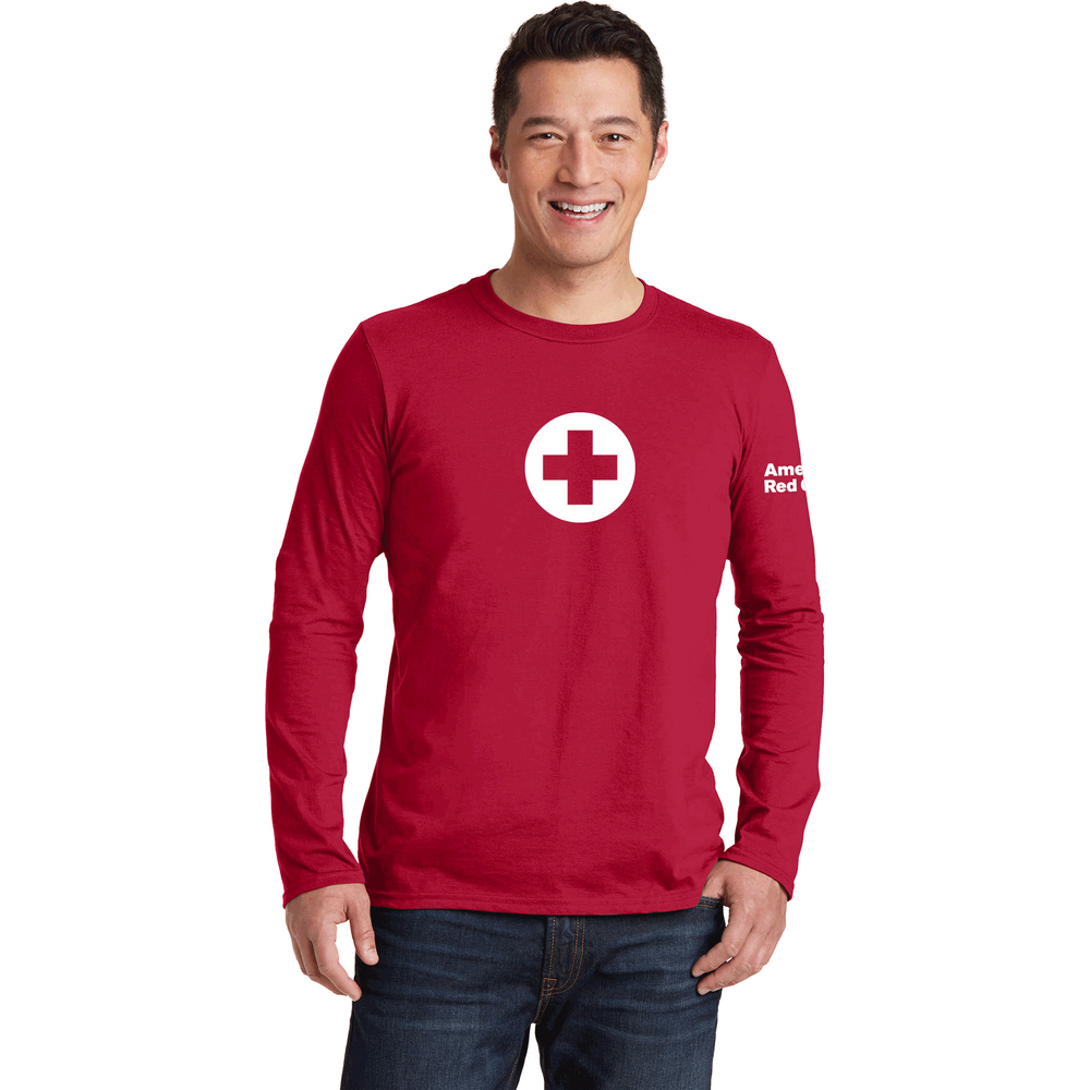 long sleeve t shirt with logo red cross store unisex 100 cotton classic long sleeve t shirt with american red cross logo
