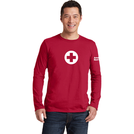 Unisex 100% Cotton Classic Long Sleeve T-Shirt with American Red Cross Logo