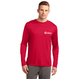 Performance long sleeve tee shirt with American Red Cross logo