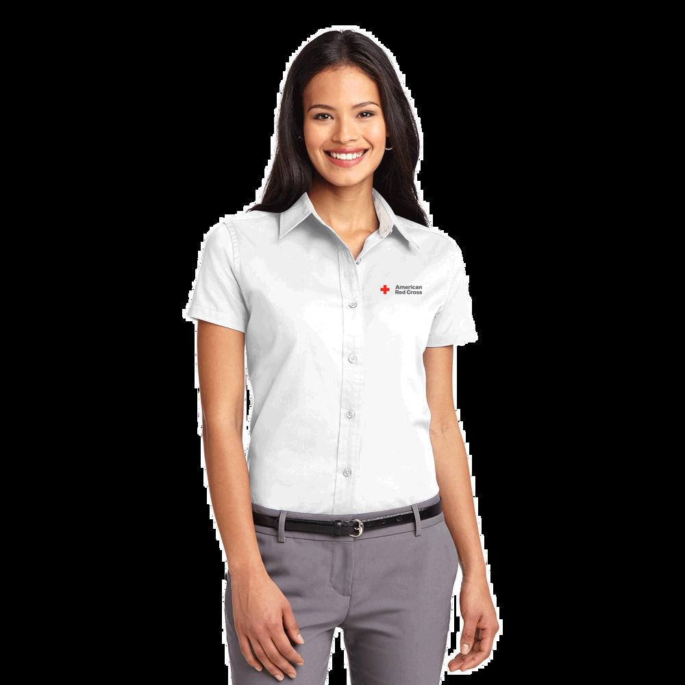 Womens Short Sleeve Button Up Oxford Shirt Red Cross Store