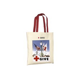 Natural tote/red handles with GIVE Vintage poster