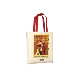 Natural tote/red handles with ROCKWELL WINDOW Vintage poster