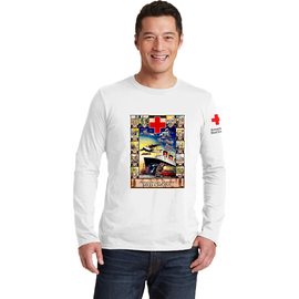 Unisex Long Sleeve T-Shirt with American Junior Red Cross Boat Vintage Print