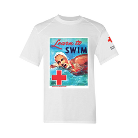 Unisex Rash Guard Short Sleeve Shirt - Learn To Swim Vintage Picture