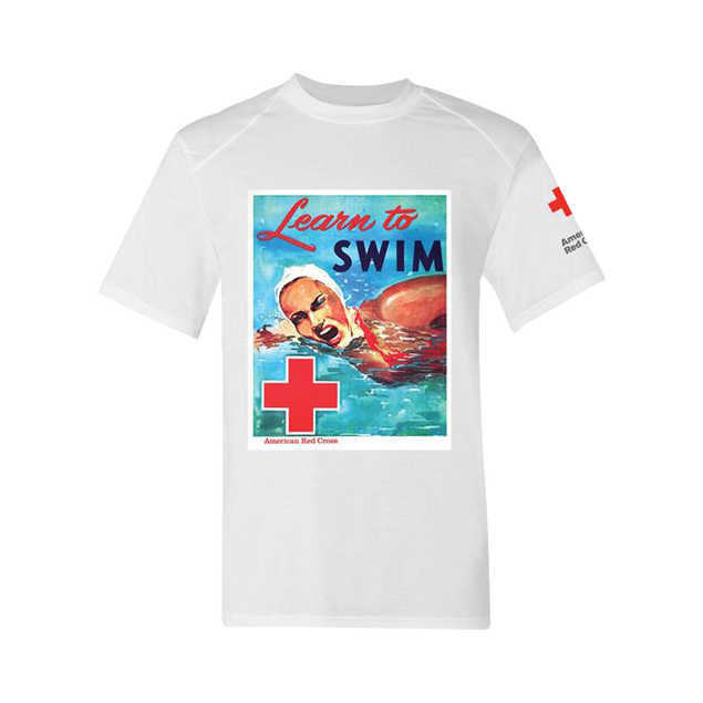Vintage Picture Rash Guard Short Sleeve - Learn To Swim