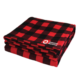 Fleece Blanket Black & Red Checkered