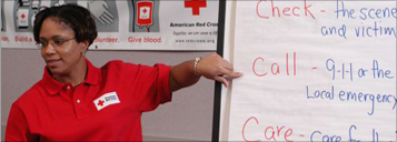 Red Cross instructor teaching a class
